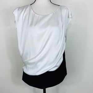 Vince Camuto Large Drape Blouse Black White NWT